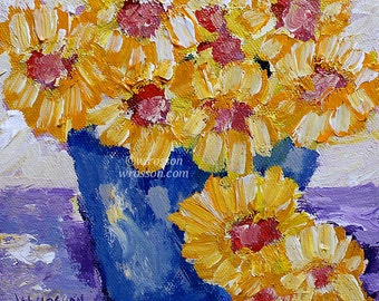 Yellow Wildflowers, Blue Vase, Original Painting, Flower Painting, Small Art,  Winjimir, Home Decor, Office Decor, Wall Art, Gift for Her,
