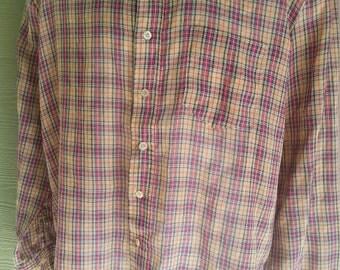 Vintage 80s Royal Knight Plaid Oxford Shirt Size L 16-16.5