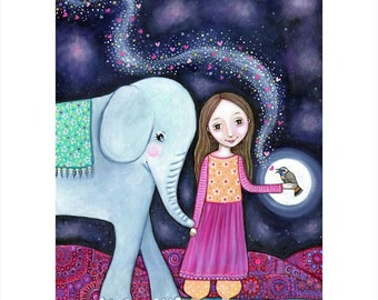 Girl and elephant A3 art print nightingale bird art whimsical folk art naive art kids wall art decor Elephant painting gift for friend