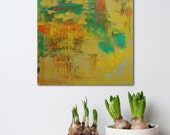 """12x12"""" Original Abstract Painting - Late Summer - textured acrylic on wood panel - Small Giftable Art - Yellow, orange and green"""