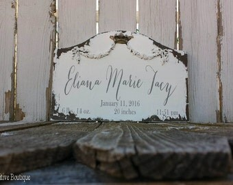 BABY NAME SIGN for Nursery | Nursey Decor | Personalized Baby Name | Date and Stats | Birth Announcement | Custom Wood Sign | Welcome Baby