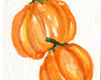 ACEO Pumpkin Watercolor Painting, ACEO Art, watercolors paintings original, pumpkins art, small kitchen wall decor, miniature painting