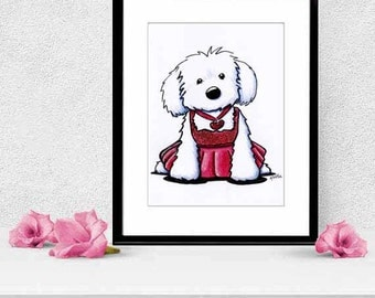 Framed and Matted Original Maltese Glamour Dog Art Illustration