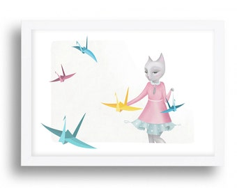 "Origami Kitten Cat - "" Origami Kitten"" Illustration drawing  A4 / A3 / A5 / 8 x 10 giclee print cats cat art"