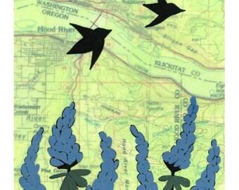 Hood River Map Print // NW Art // Oregon Art // Travel Decor // Modern Kid Art // Bird Art // Rachel Austin Art 11x14