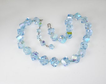 Vintage Light Sapphire Blue Rocky Cut Crystal Aurora Borealis Necklace Jewelry
