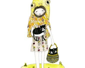 A4 + A5 Print: Crazy Cat Lady with Three Cats [Signed Giclee Art print A4 and A5 available]