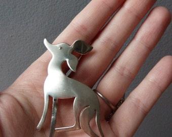 Vintage sterling silver deer fawn brooch by Orb