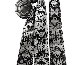 Cell Structure Printed Necktie. Cellular Biology pattern silkscreen mens tie. Psychedelic, kaleidoscopic inkblot Rorschach test print.