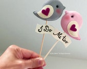 LOVE BIRDS Wedding Cake Topper, Personalized Cake Topper, Wedding Reception Decor Ideas, Unique wedding Photo Prop, Bird Theme Wedding Party