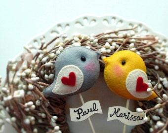 LOVE BIRD for Bride Groom, Personalized Custom Color Wedding Cake Topper, Wedding Party Decor, Wedding photo prop, Bird Theme Wedding Party