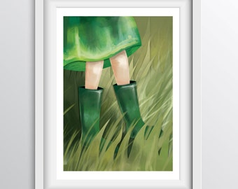 Children's Room Decor - Alphabet Art Print - G - Girl with Green Gumboots in the Grass - A4 fine art print