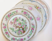 Mismatch Dinner Plates Pink Rainbow China Roses Floral China Pattern Shabby Chic Wedding Shower Mad Hatter  (P309)