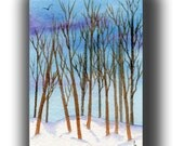 ACEO watercolor SNOW in the cottonwoods original painting SFA miniature dollhouse mini