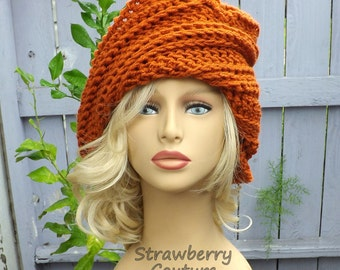 Burnt Pumpkin Crochet Hat Womens Hat Trendy, Steampunk Hat, Crochet Beanie Hat, Orange Hat, African Hat, JUDY Beanie Hat for Wome