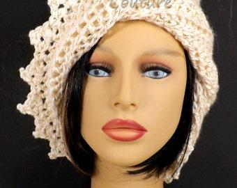 Crochet Hat Womens Hat, Womens Crochet Hat, Crochet Beanie Hat, Ivory Sparkle Hat, Ivory Hat, African Hat, Lauren Beanie Hat for Women