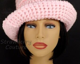 Crochet Floppy Hat Womens Crochet Hat, Womens Hat Wide Brim Hat, Steampunk Top Hats for Women, Virginia Soft Pink Hat