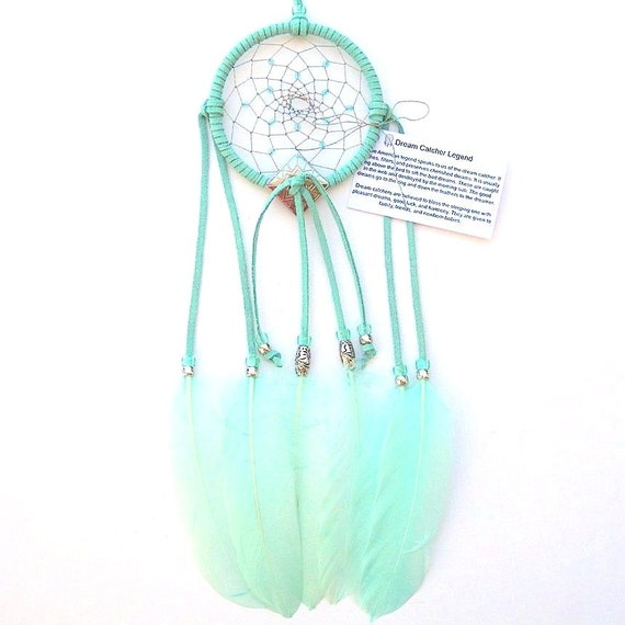 Aqua Blue Dream Catcher, Goose Shoulder Feathers