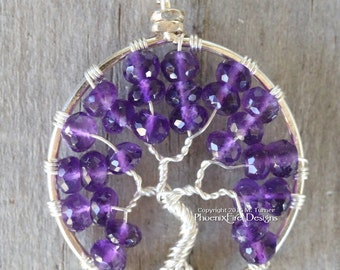 Amethyst Tree of Life Pendant Wire Wrapped Necklace Natural Purple Gemstone February Birthstone Tree Jewelry Forest Nature Earthy BoHo RTS