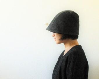 WOOL HAT / black herringbone wool / women men unisex / beanie / cloche / reversible / winter / made in australia / pamelatang