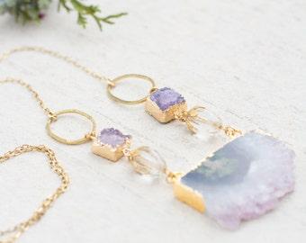 Natural Amethyst Gemstone Necklace, Amethyst Slice Necklace, Druzy Statement Gemstone Necklace