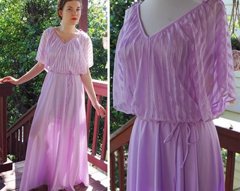 LAVENDER 1970's Light Purple Long Disco Gown with Sheer Stripes + Tie Shoulders // size Medium // Greecian Goddess / Deadstock TAGS