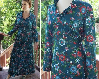 Crazy DAISY 1960's 70's Vintage Deep Teal Polyester Floral Maxi Dress with Long Sleeves + Ruffles // size Medium