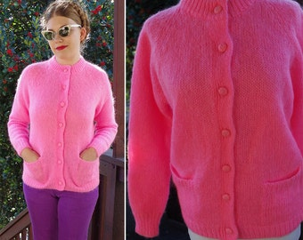 BUBBLEGUM 1950's 60's Vintage Bright Pink MOHAIR + Wool Cardigan Sweater w/ Store Tags / Contemporary Classics / size 38 Medium // Like NEW