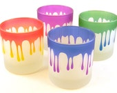 Dripping - 10oz Lowball Tumbler Glasses - Set of 4 - Frosted and Painted Glassware - Ready to Ship
