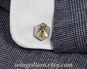 HONEY BEE cufflinks sterling silver & bronze mens cuff links