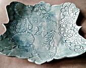 Ceramic Bowl Sea green Damask and lace pattern