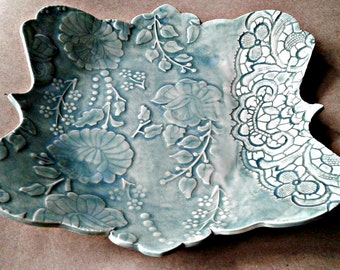 Ceramic Bowl Sea green Damask and lace pattern