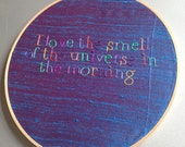 SALE the smell of the universe - hand drawn and embroidered Cosmos / Neil De Grasse Tyson inspiration wall hanging