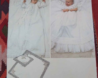 Vintage 80s Little VOGUE 2878 Infants Christening Dress Coat Bonnet Pillow Sham and Blanket with Embroidery Transfers One Size