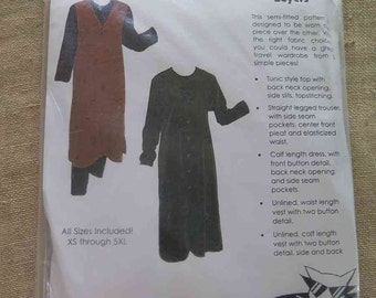 PAW Prints 021 Layers Tunic Top Trousers Dress Vest Sewing Pattern sizes XS - 5XL UNCUT