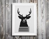 modern cross stitch pattern ++ oh deer ++ retro hipster forest animal ++ barcode ++ pdf INsTAnT DOwNLoAD ++ diy ++ handmade design