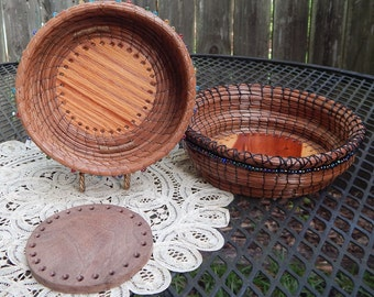 Pine Needle Basketry - Starter Rounds for Making Pine Needle or any Coil Woven Basket in Various Kinds of Wood