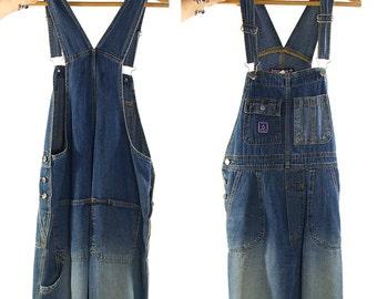 "80s Denim Overalls / Vintage 1970 Classic Multi-Pocket Style Jeans Bib Overalls / Women's Work Wear / Grunge Hippie Boho Rocker 33"" Waist"