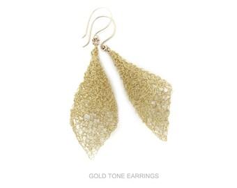 Gold Tone Earrings, Wire Crochet Earrings, Gold Earrings, Wire Earrings, Fairy Bell Earrings, Wire Crochet Earrings, By Durango Rose