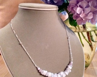 Blue Lace Agate Gemstone Silver Necklace - free shipping