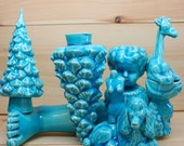 Blue Ceramic Collage Poodle Giraffe Bust Trees