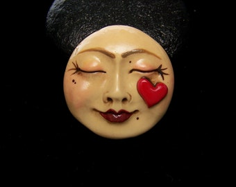 Moon Goddess with a Heart Valentine's Day Face Cabochon Cab Handmade OOAK Polymer clay