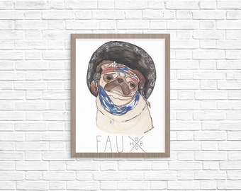 Funny Animal Art Prints, Funny Posters, Pug Art Print, Pug Lover Gift, College Student Gift, College Dorm Decorations, Apartment Wall Art