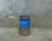 RESERVED - Teeny Wee Canister Jar - Handmade Stoneware Ceramic Pottery - Indigo Blue - Vines - 8 ounces