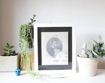 Vintage portrait piechart poem | Original fine art collage on paper