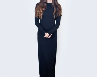 Maxi Dress • Boatneck Long Sleeve Dress • Women's Tall & Petite Length Dresses • Black Jersey Dress • Loft415 Clothing (L415 No. 715)