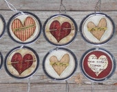 10 Assorted Primitive Vintage Style Valentine's February 14 LOVE Heart Metal Rimmed Hang Tags - Tie Ons - Gift Tag - Scrapbooking - Ornies