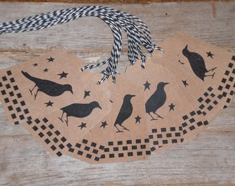12 Primitive Hang Tags Gift Ties - Crow - Stars - Rustic with Bakers Twine Strings Country Decor - Scrapbooking - Dollies - Ornies
