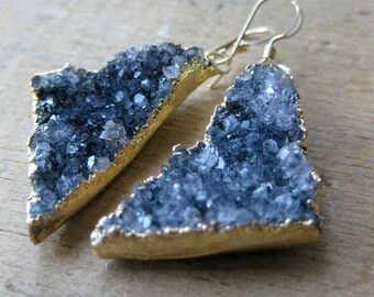 TRIANGLE chunky grey drusy geometric earrings crystal druzy gold filled