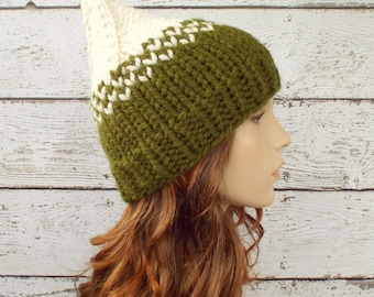 Cream and Olive Green Knit Hat Green Womens Hat - Green Gnome Hat Green Hat Green Beanie Womens Accessories Winter Hat - READY TO SHIP